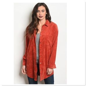 Corduroy Tunic Button Front Shirt